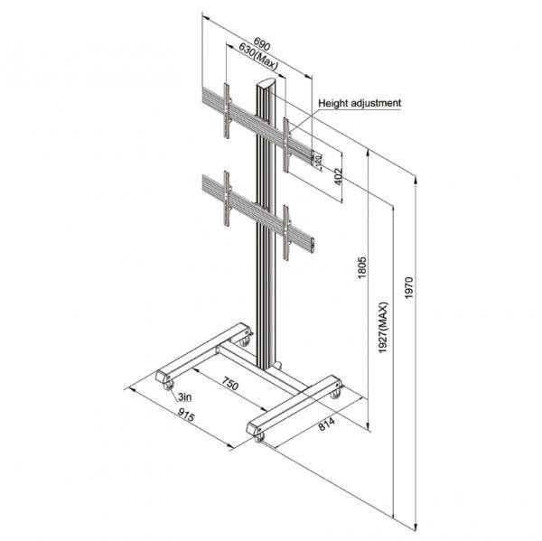 Podlahový stojan samostatne stojací LCD Video stenu NMPRO-M12 05